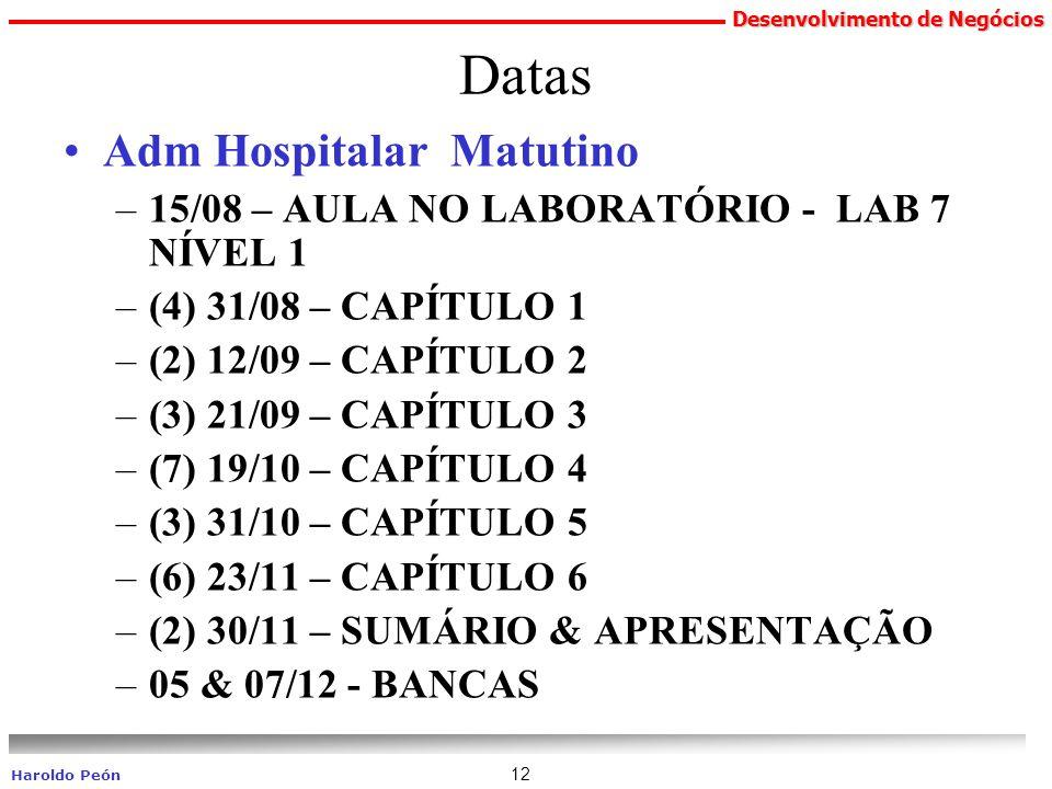 Desenvolvimento de Negócios Haroldo Peón 12 Datas Adm Hospitalar Matutino –15/08 – AULA NO LABORATÓRIO - LAB 7 NÍVEL 1 –(4) 31/08 – CAPÍTULO 1 –(2) 12