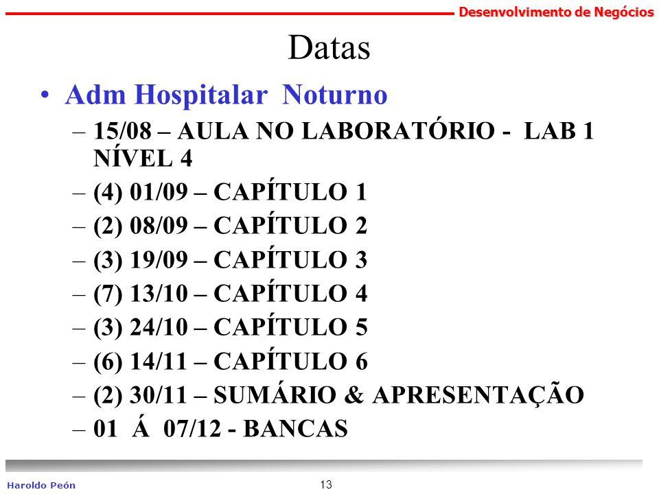 Desenvolvimento de Negócios Haroldo Peón 13 Datas Adm Hospitalar Noturno –15/08 – AULA NO LABORATÓRIO - LAB 1 NÍVEL 4 –(4) 01/09 – CAPÍTULO 1 –(2) 08/