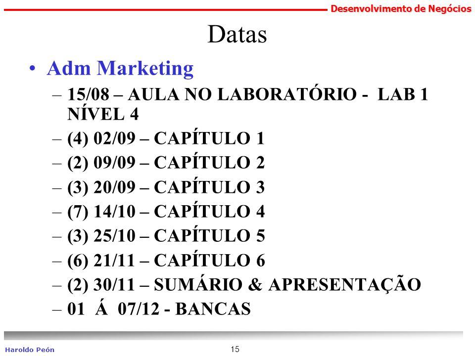 Desenvolvimento de Negócios Haroldo Peón 15 Datas Adm Marketing –15/08 – AULA NO LABORATÓRIO - LAB 1 NÍVEL 4 –(4) 02/09 – CAPÍTULO 1 –(2) 09/09 – CAPÍ