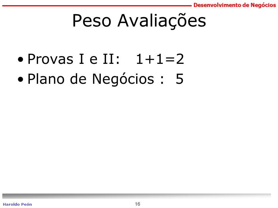 Desenvolvimento de Negócios Haroldo Peón 16 Peso Avaliações Provas I e II: 1+1=2 Plano de Negócios : 5