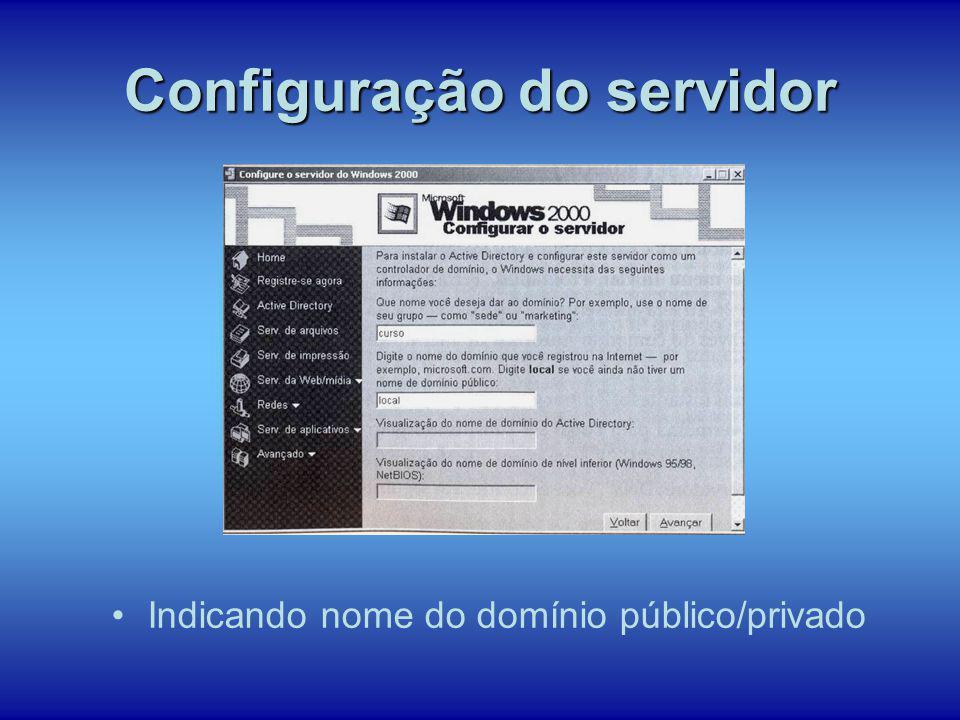 Indicando nome do domínio público/privado Configuração do servidor
