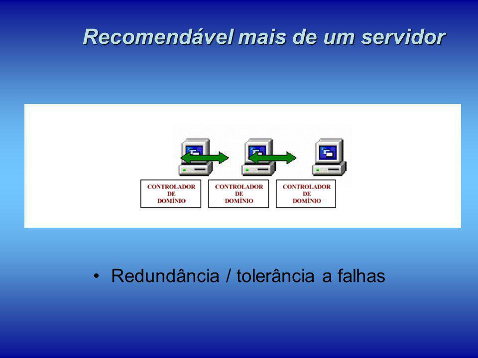 Redundância / tolerância a falhas Recomendável mais de um servidor