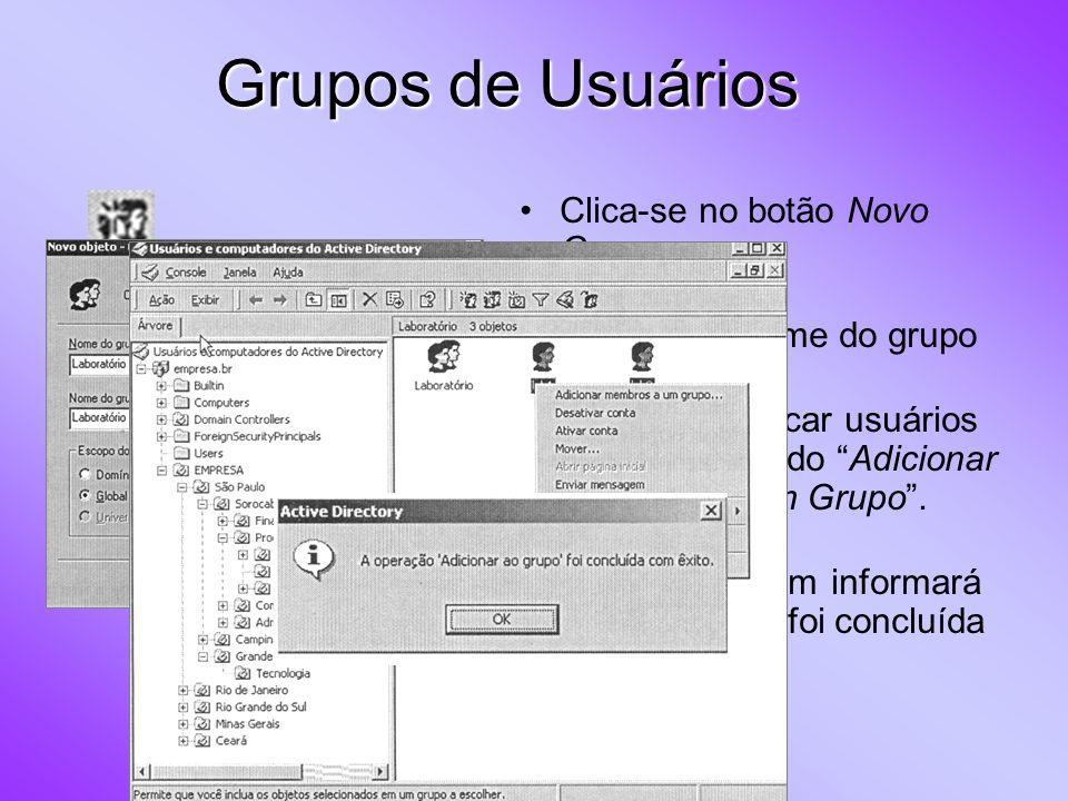Clica-se no botão Novo Grupo Digita-se o nome do grupo Podemos colocar usuários no grupo usando Adicionar Membros a um Grupo. Uma mensagem informará q