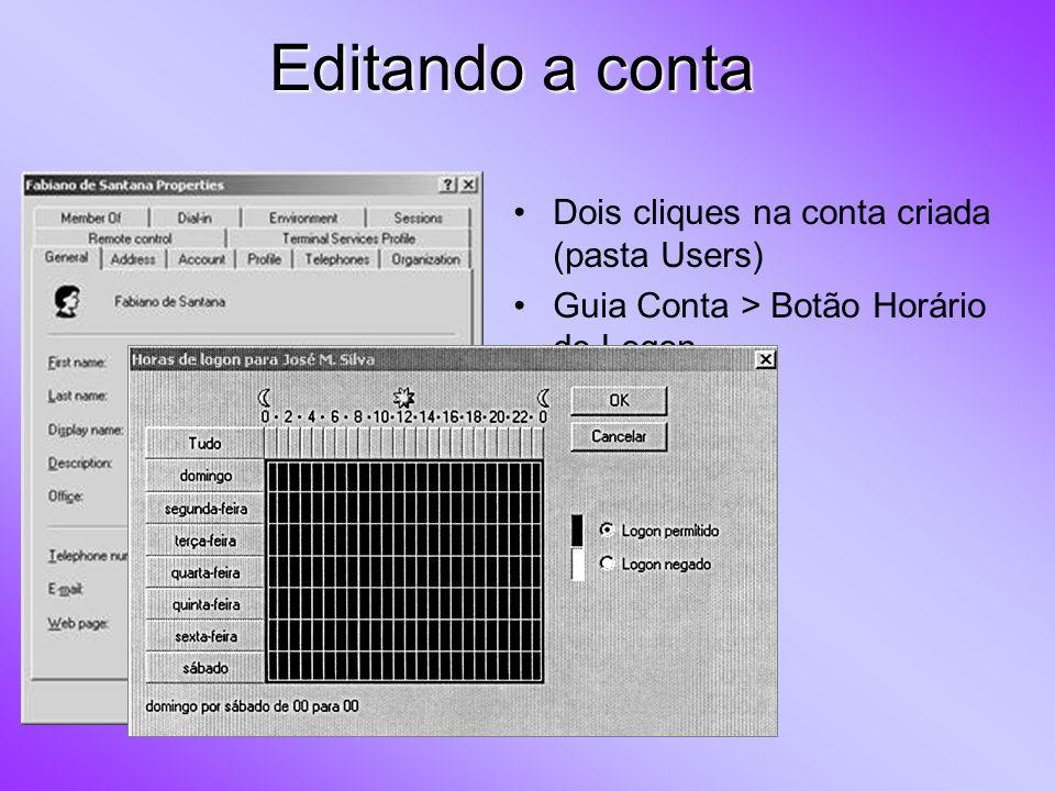 Editando a conta Na guia Conta > Botão Efetuar Logon em Limita computadores a partir dos quais o usuário poderá efetuar logon