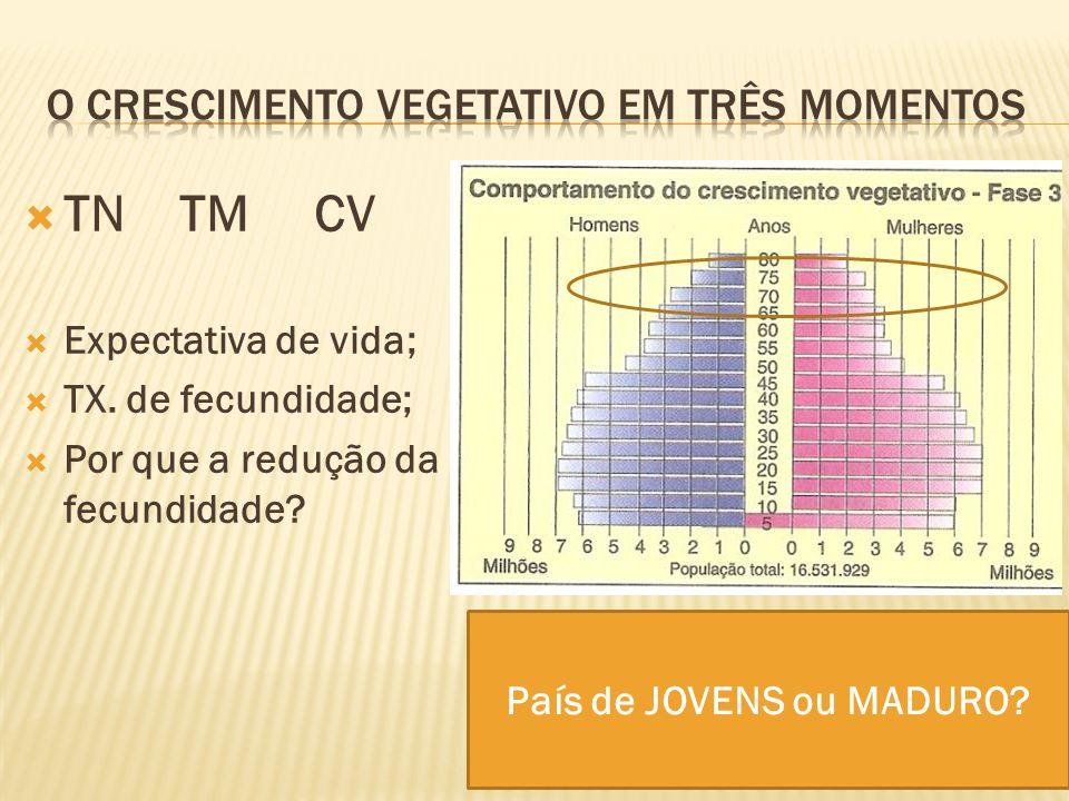 TN TM CV Expectativa de vida; TX. de fecundidade; Por que a redução da fecundidade? País de JOVENS ou MADURO?
