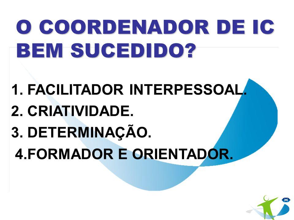 O COORDENADOR DE IC BEM SUCEDIDO? 1. FACILITADOR INTERPESSOAL. 2. CRIATIVIDADE. 3. DETERMINAÇÃO. 4.FORMADOR E ORIENTADOR.