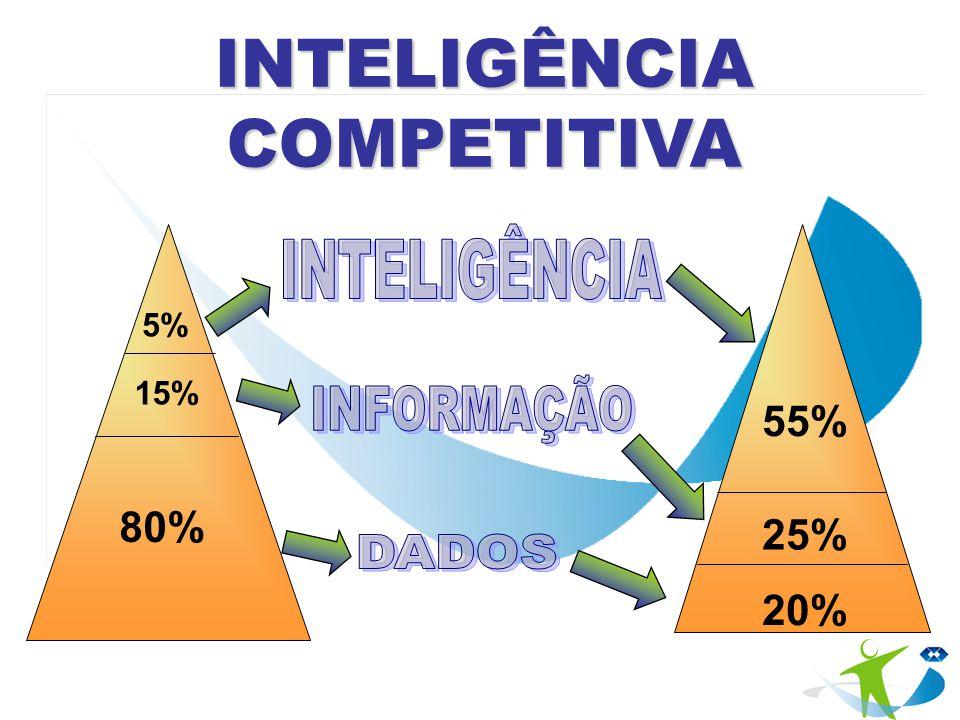5% 15% 80% 55% 25% 20% INTELIGÊNCIA COMPETITIVA