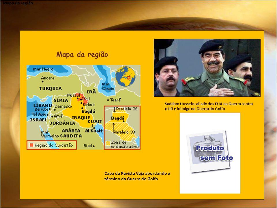 Mapa da região Saddam Hussein: aliado dos EUA na Guerra contra o Irã e inimigo na Guerra do Golfo Capa da Revista Veja abordando o término da Guerra do Golfo Mapa da região