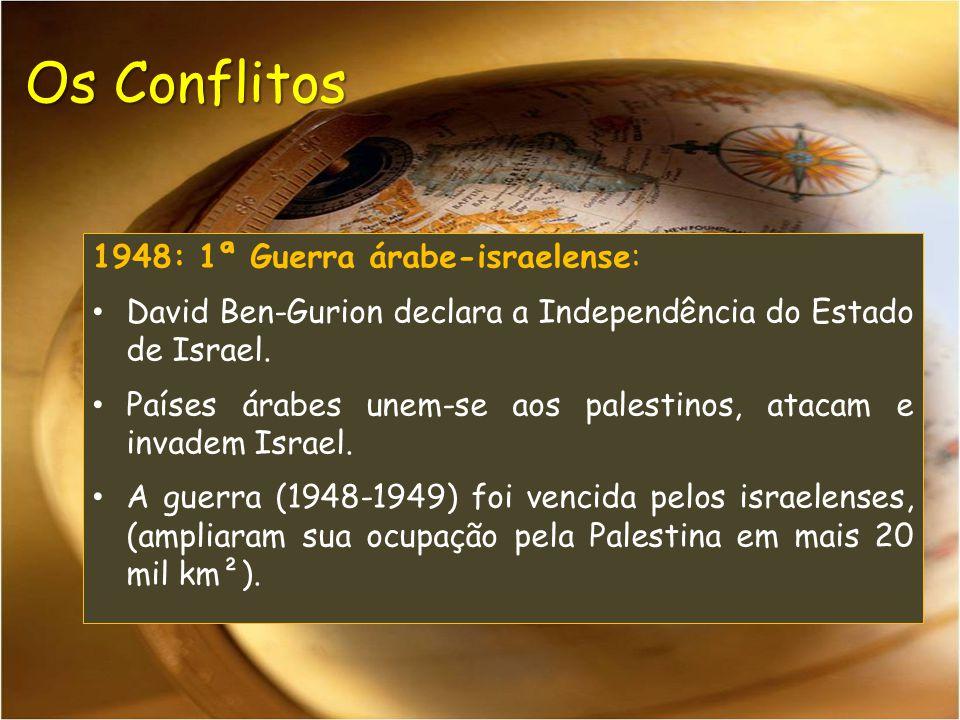 Os Conflitos 1948: 1ª Guerra árabe-israelense: David Ben-Gurion declara a Independência do Estado de Israel. Países árabes unem-se aos palestinos, ata