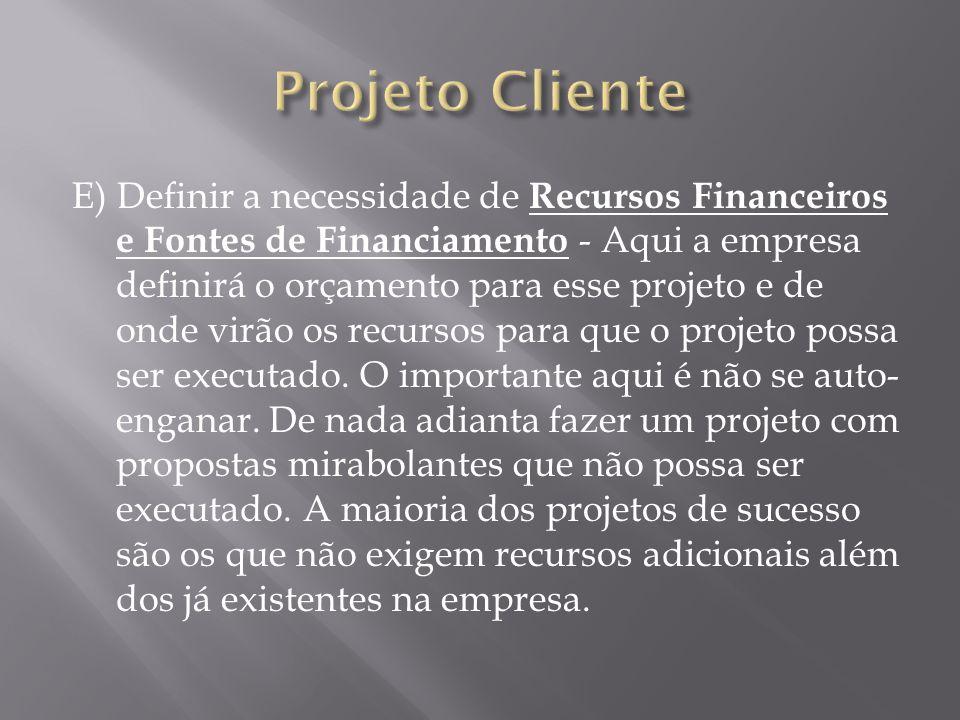 E) Definir a necessidade de Recursos Financeiros e Fontes de Financiamento - Aqui a empresa definirá o orçamento para esse projeto e de onde virão os recursos para que o projeto possa ser executado.