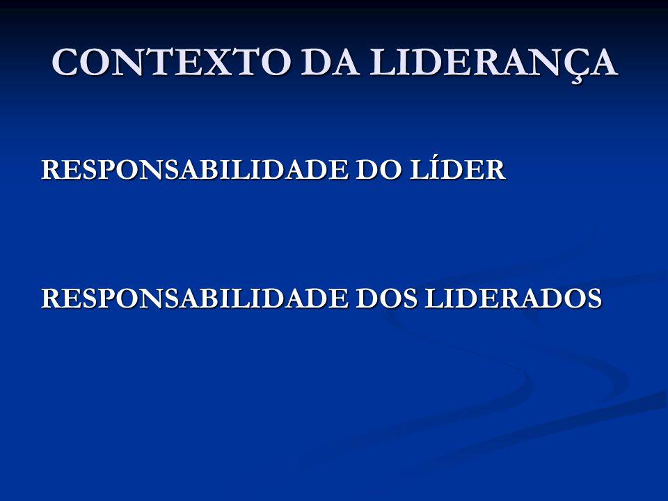 CONTEXTO DA LIDERANÇA RESPONSABILIDADE DO LÍDER RESPONSABILIDADE DOS LIDERADOS