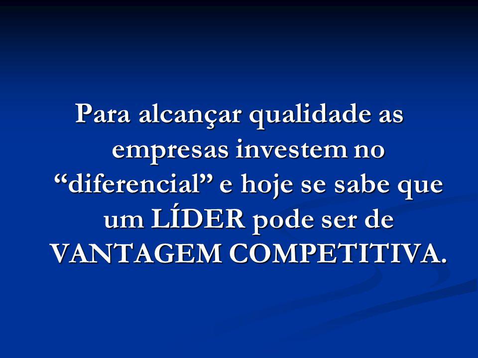 Para alcançar qualidade as empresas investem no diferencial e hoje se sabe que um LÍDER pode ser de VANTAGEM COMPETITIVA.