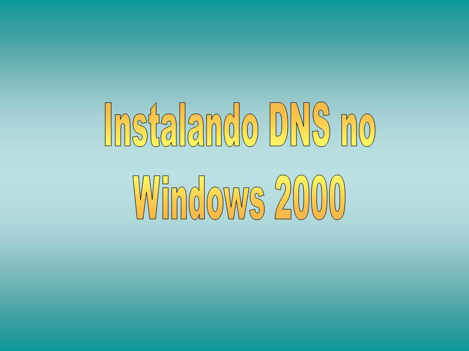 Iniciar > Configurações > Painel de Controle > Adicionar/Remover Programas > Adicionar/Remover Componentes do Windows O servidor DNS está em Serviços de Rede.
