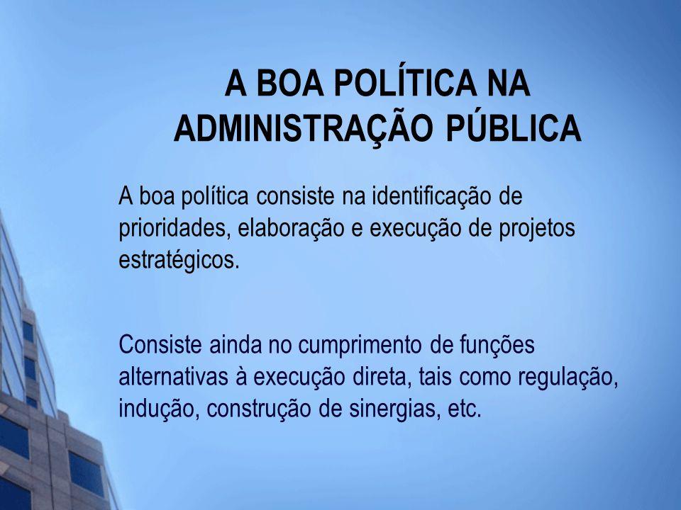 A BOA POLÍTICA NA ADMINISTRAÇÃO PÚBLICA A boa política consiste na identificação de prioridades, elaboração e execução de projetos estratégicos.