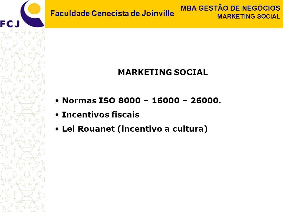 Faculdade Cenecista de Joinville MBA GESTÃO DE NEGÓCIOS MARKETING SOCIAL Normas ISO 8000 – 16000 – 26000.