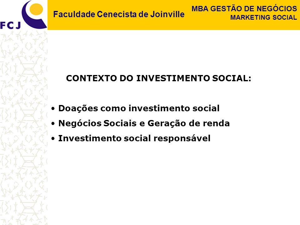Faculdade Cenecista de Joinville MBA GESTÃO DE NEGÓCIOS MARKETING SOCIAL CONTEXTO DO INVESTIMENTO SOCIAL: Doações como investimento social Negócios Sociais e Geração de renda Investimento social responsável