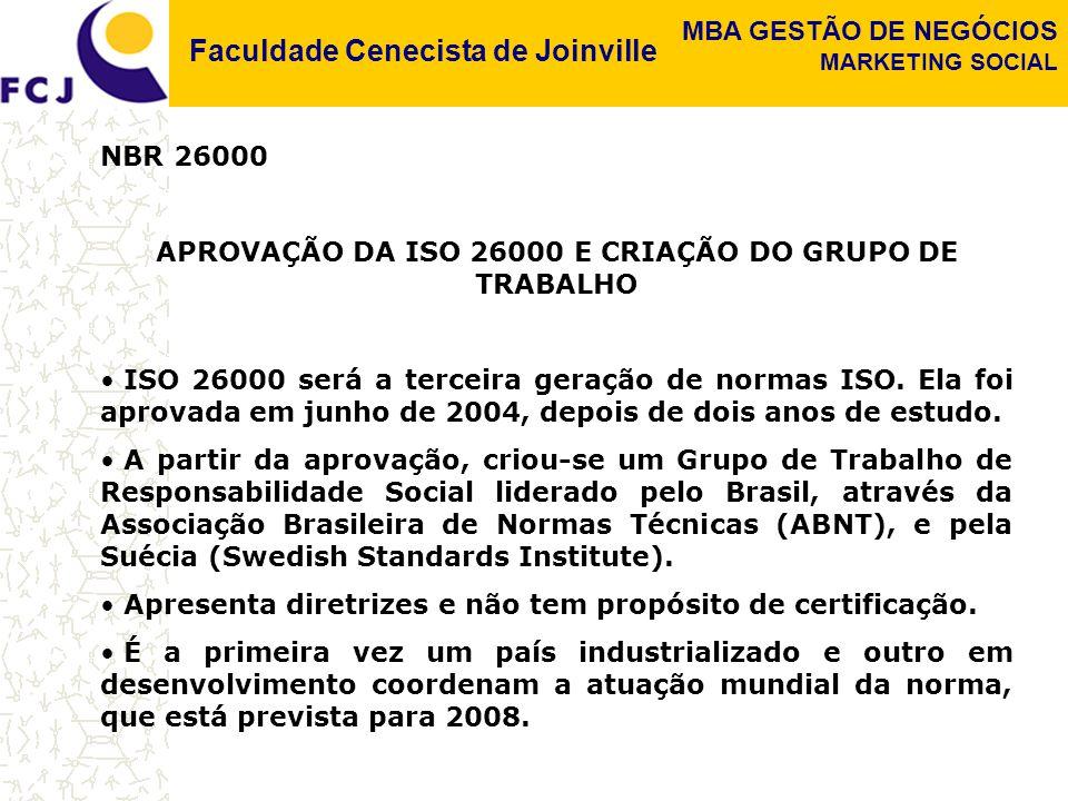 Faculdade Cenecista de Joinville MBA GESTÃO DE NEGÓCIOS MARKETING SOCIAL NBR 26000 APROVAÇÃO DA ISO 26000 E CRIAÇÃO DO GRUPO DE TRABALHO ISO 26000 será a terceira geração de normas ISO.