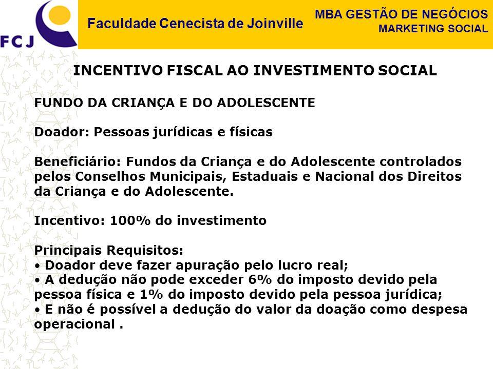 Faculdade Cenecista de Joinville MBA GESTÃO DE NEGÓCIOS MARKETING SOCIAL INCENTIVO FISCAL AO INVESTIMENTO SOCIAL DOAÇÕES A OSCIPS (Organização da Sociedade Civil de Interesse Público) Incentivo fiscal para doação de empresas: Dedução de 2% do lucro operacional nas doações para OSCIPs Doação de indivíduos: No Brasil não há qualquer incentivo fiscal às doações efetuadas por pessoas físicas (apenas para o Fundo da Criança e do Adolescente e para as Leis de incentivo)..