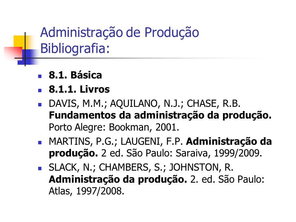 8.1. Básica 8.1.1. Livros DAVIS, M.M.; AQUILANO, N.J.; CHASE, R.B. Fundamentos da administração da produção. Porto Alegre: Bookman, 2001. MARTINS, P.G