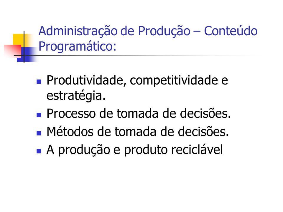 Produtividade, competitividade e estratégia. Processo de tomada de decisões. Métodos de tomada de decisões. A produção e produto reciclável Administra