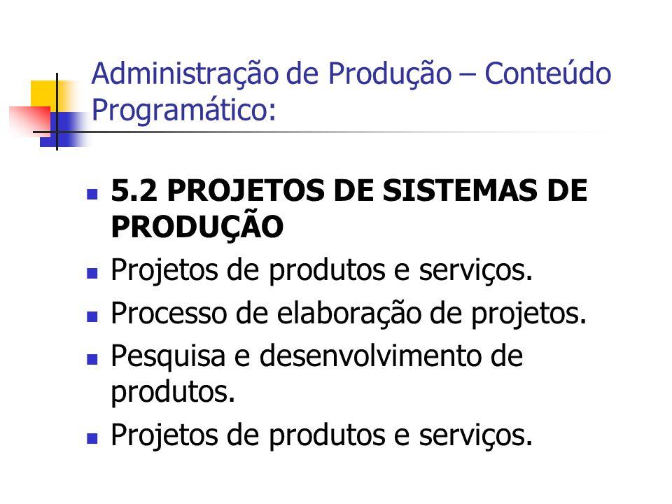 5.2 PROJETOS DE SISTEMAS DE PRODUÇÃO Projetos de produtos e serviços. Processo de elaboração de projetos. Pesquisa e desenvolvimento de produtos. Proj