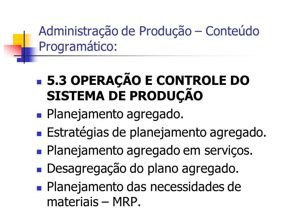 5.3 OPERAÇÃO E CONTROLE DO SISTEMA DE PRODUÇÃO Planejamento agregado. Estratégias de planejamento agregado. Planejamento agregado em serviços. Desagre