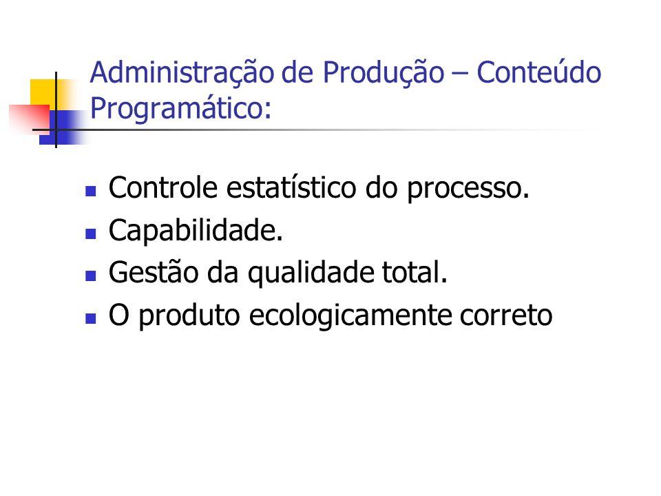 Controle estatístico do processo. Capabilidade. Gestão da qualidade total. O produto ecologicamente correto Administração de Produção – Conteúdo Progr