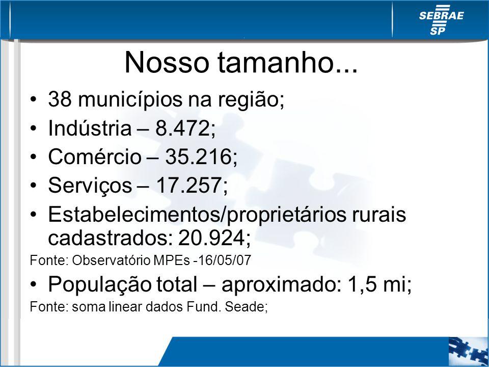 Nosso tamanho... 38 municípios na região; Indústria – 8.472; Comércio – 35.216; Serviços – 17.257; Estabelecimentos/proprietários rurais cadastrados: