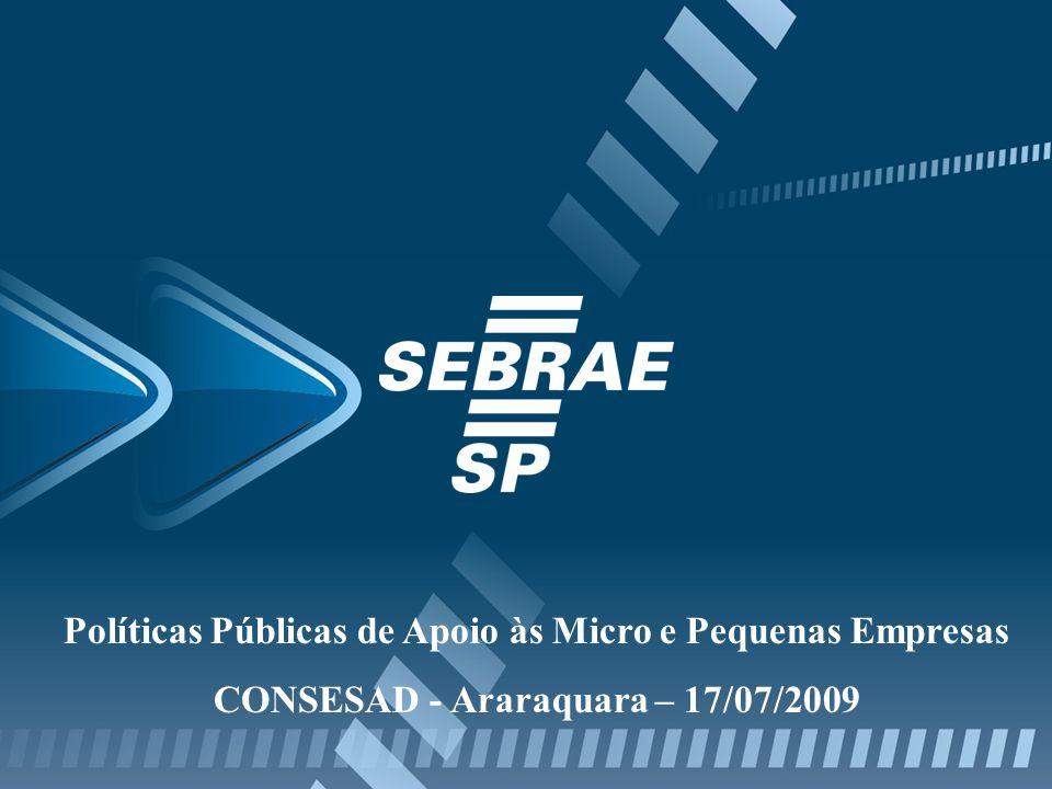 Políticas Públicas de Apoio às Micro e Pequenas Empresas CONSESAD - Araraquara – 17/07/2009