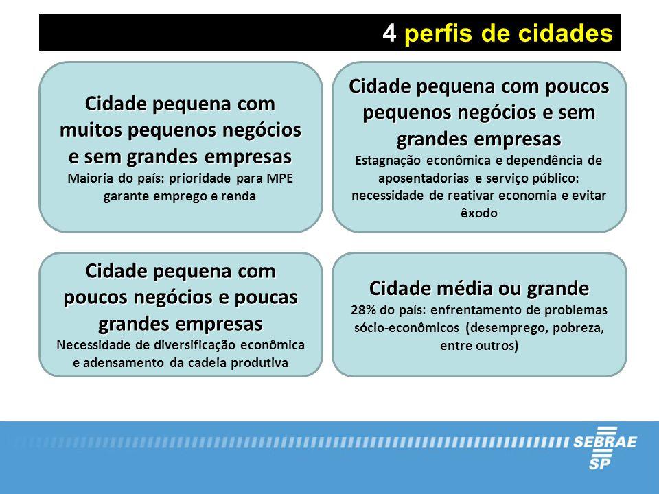 4 perfis de cidades Cidade pequena com muitos pequenos negócios e sem grandes empresas Maioria do país: prioridade para MPE garante emprego e renda Ci