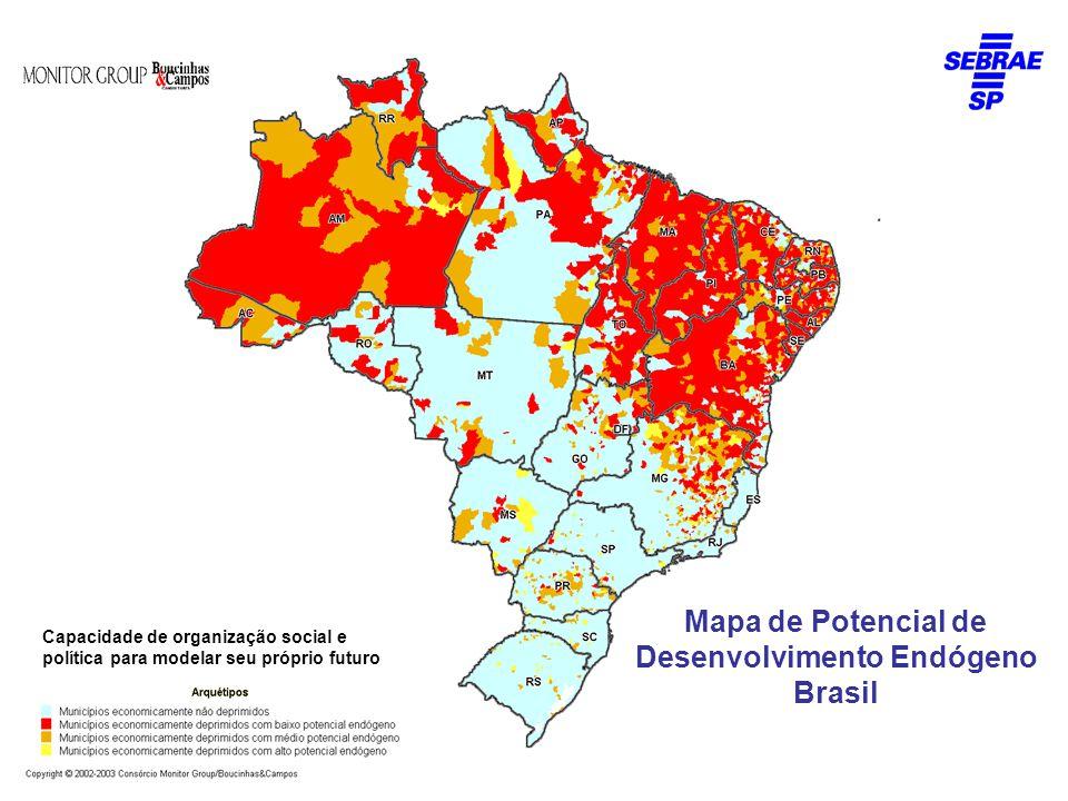 Mapa de Potencial de Desenvolvimento Endógeno Brasil Capacidade de organização social e política para modelar seu próprio futuro