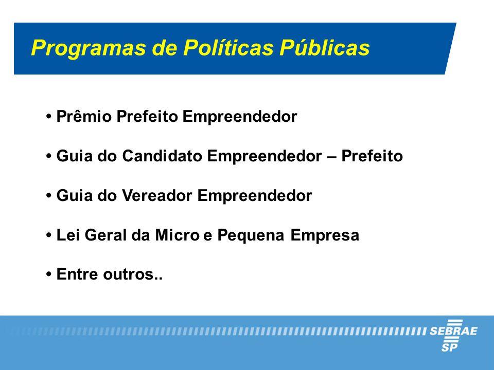 Programas de Políticas Públicas Prêmio Prefeito Empreendedor Guia do Candidato Empreendedor – Prefeito Guia do Vereador Empreendedor Lei Geral da Micro e Pequena Empresa Entre outros..