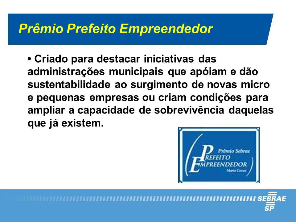 Prêmio Prefeito Empreendedor Criado para destacar iniciativas das administrações municipais que apóiam e dão sustentabilidade ao surgimento de novas m