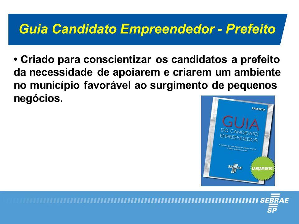 Guia Candidato Empreendedor - Prefeito Criado para conscientizar os candidatos a prefeito da necessidade de apoiarem e criarem um ambiente no municípi