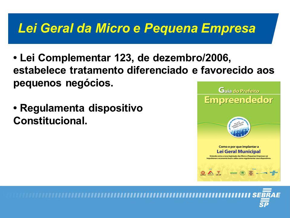Lei Geral da Micro e Pequena Empresa Lei Complementar 123, de dezembro/2006, estabelece tratamento diferenciado e favorecido aos pequenos negócios.