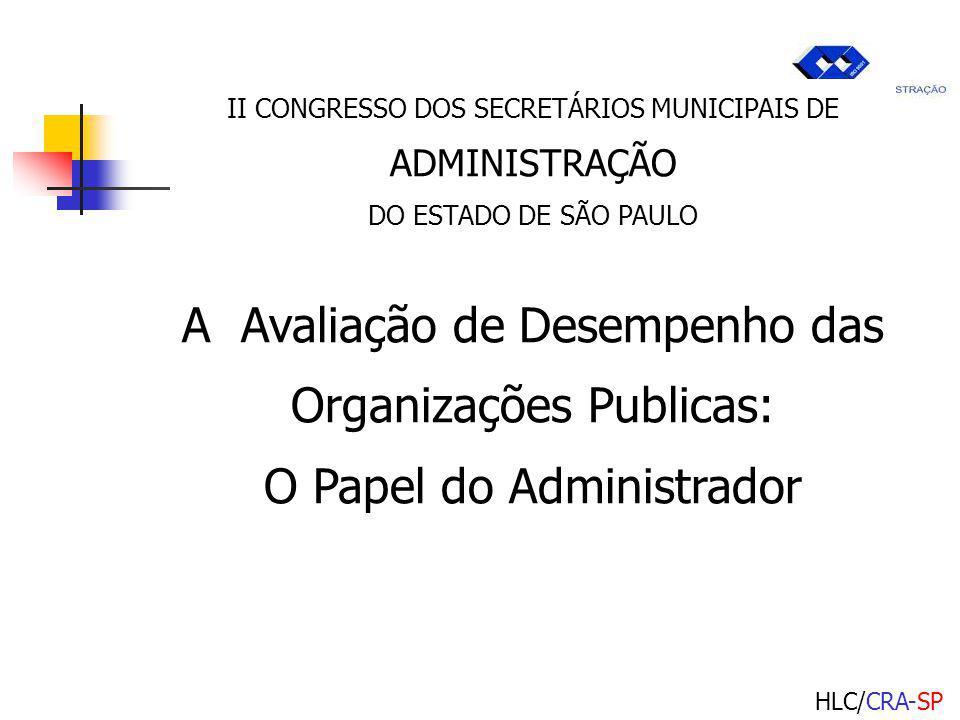 HLC/CRA-SP II CONGRESSO DOS SECRETÁRIOS MUNICIPAIS DE ADMINISTRAÇÃO DO ESTADO DE SÃO PAULO A Avaliação de Desempenho das Organizações Publicas: O Papel do Administrador