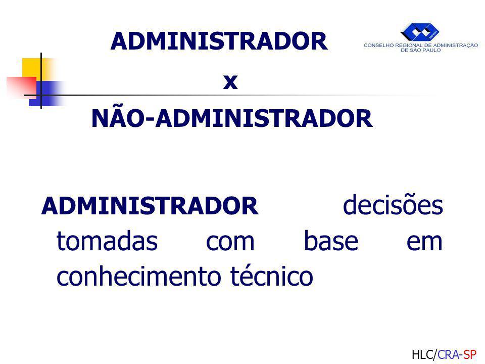 HLC/CRA-SP ADMINISTRADOR x NÃO-ADMINISTRADOR ADMINISTRADOR decisões tomadas com base em conhecimento técnico