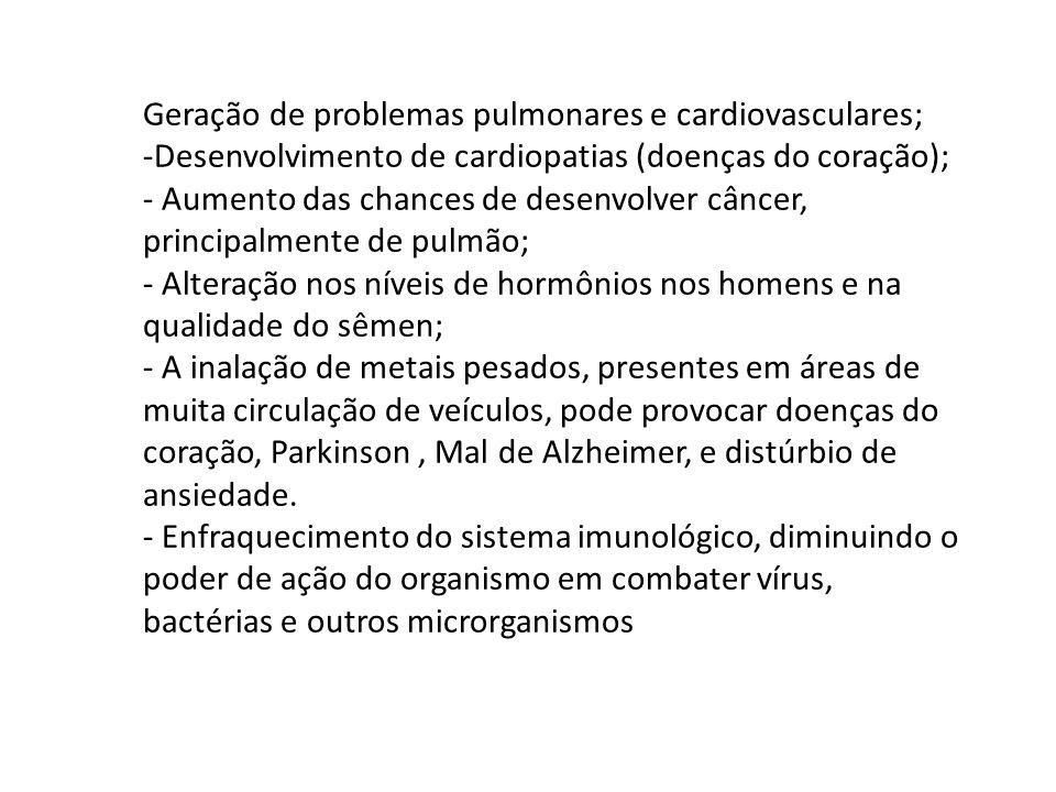 Geração de problemas pulmonares e cardiovasculares; -Desenvolvimento de cardiopatias (doenças do coração); - Aumento das chances de desenvolver câncer
