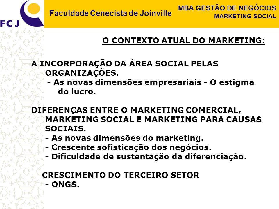 Faculdade Cenecista de Joinville MBA GESTÃO DE NEGÓCIOS MARKETING SOCIAL O CONTEXTO ATUAL DO MARKETING: A INCORPORAÇÃO DA ÁREA SOCIAL PELAS ORGANIZAÇÕ