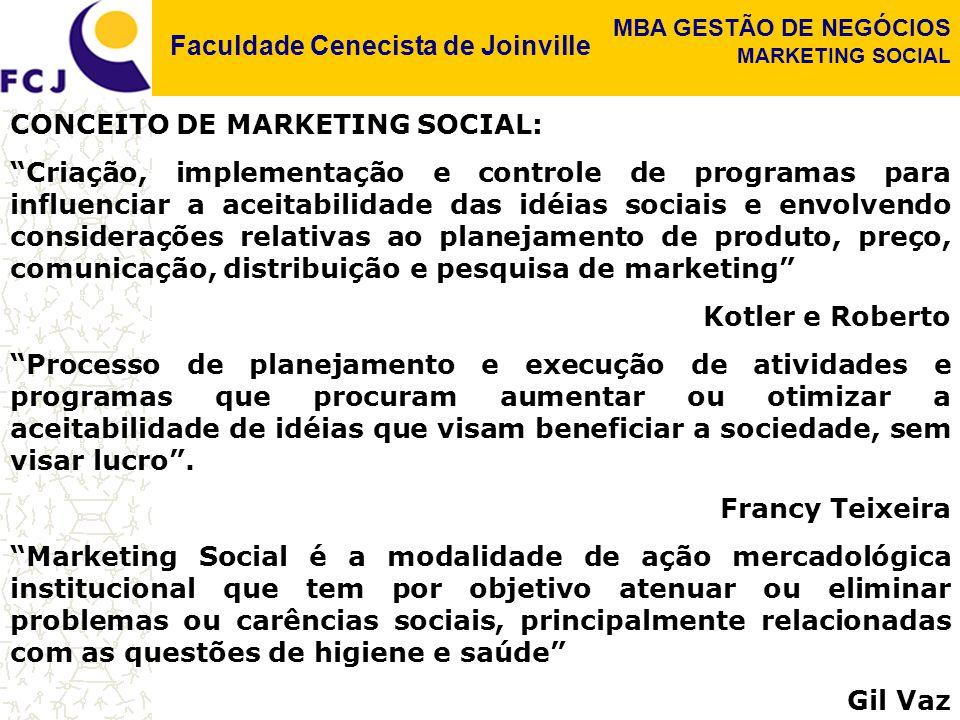 Faculdade Cenecista de Joinville MBA GESTÃO DE NEGÓCIOS MARKETING SOCIAL CONCEITO DE MARKETING SOCIAL: Criação, implementação e controle de programas