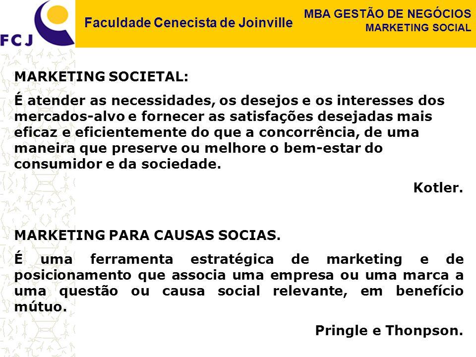 Faculdade Cenecista de Joinville MBA GESTÃO DE NEGÓCIOS MARKETING SOCIAL MARKETING SOCIETAL: É atender as necessidades, os desejos e os interesses dos