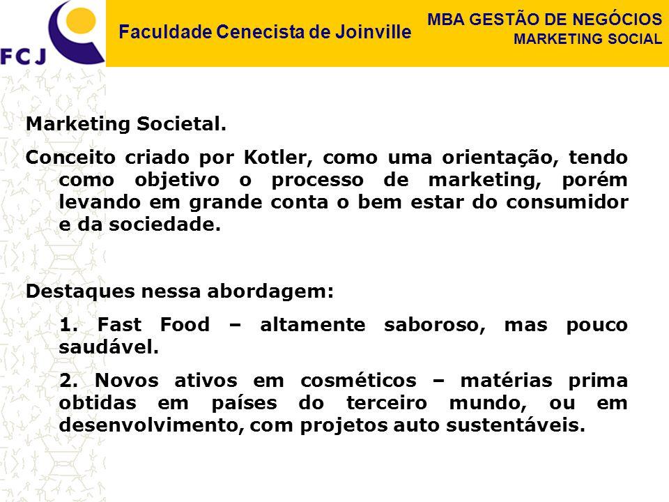 Faculdade Cenecista de Joinville MBA GESTÃO DE NEGÓCIOS MARKETING SOCIAL Marketing Societal. Conceito criado por Kotler, como uma orientação, tendo co