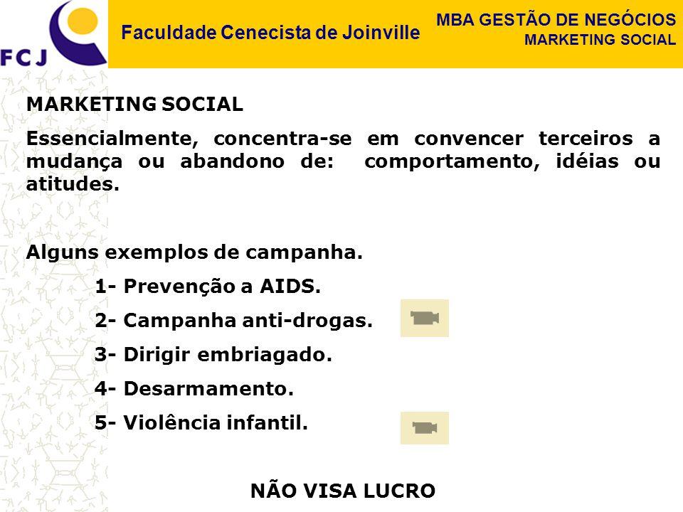 Faculdade Cenecista de Joinville MBA GESTÃO DE NEGÓCIOS MARKETING SOCIAL Essencialmente, concentra-se em convencer terceiros a mudança ou abandono de: