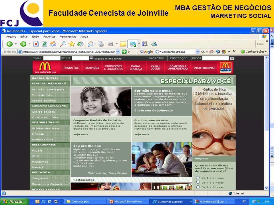 Faculdade Cenecista de Joinville MBA GESTÃO DE NEGÓCIOS MARKETING SOCIAL