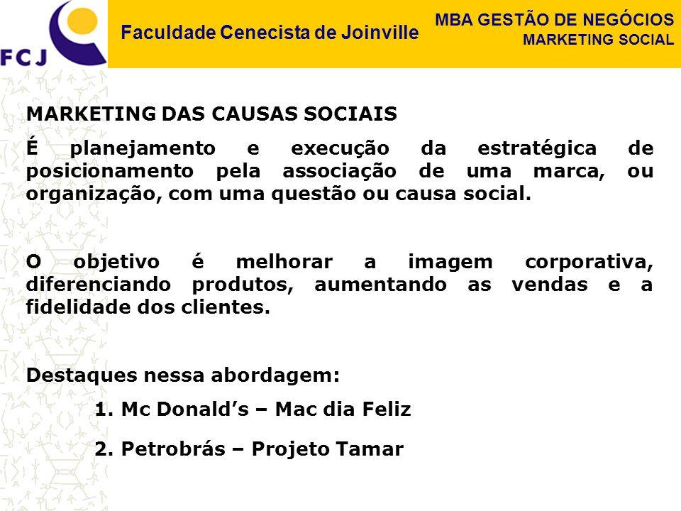 Faculdade Cenecista de Joinville MBA GESTÃO DE NEGÓCIOS MARKETING SOCIAL MARKETING DAS CAUSAS SOCIAIS É planejamento e execução da estratégica de posi