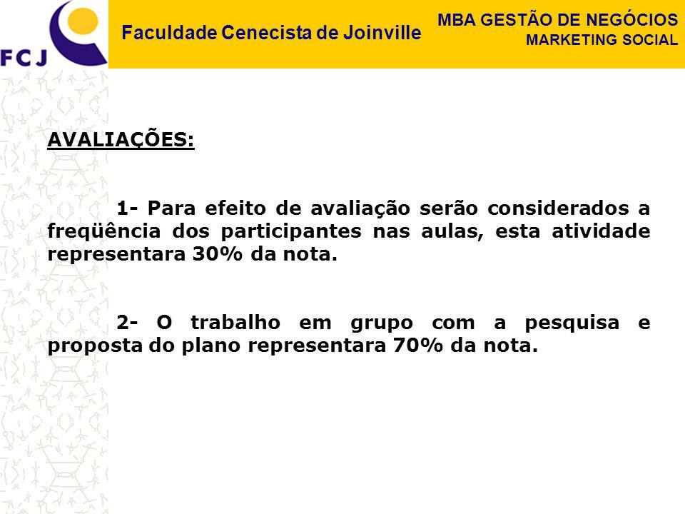 Faculdade Cenecista de Joinville MBA GESTÃO DE NEGÓCIOS MARKETING SOCIAL AVALIAÇÕES: 1- Para efeito de avaliação serão considerados a freqüência dos p