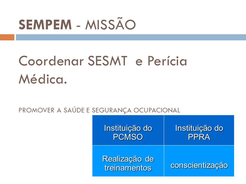 SEMPEM - MISSÃO Coordenar SESMT e Perícia Médica. PROMOVER A SAÚDE E SEGURANÇA OCUPACIONAL Instituição do PCMSO PPRA Realização de treinamentos consci