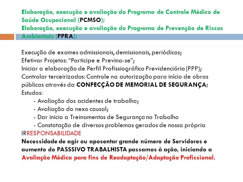 Elaboração, execução e avaliação do Programa de Controle Médico de Saúde Ocupacional (PCMSO); Elaboração, execução e avaliação do Programa de Prevenção de Riscos Ambientais (PPRA); Execução de exames admissionais, demissionais, periódicos; Efetivar Projetos: Participe e Previna-se; Iniciar a elaboração de Perfil Profissiográfico Previdenciário (PPP); Controlar terceirizados: Controle na autorização para início de obras públicas através da CONFECÇÃO DE MEMORIAL DE SEGURANÇA; Estudos: - Avaliação dos acidentes de trabalho; - Avaliação do nexo causal; - Dar inicio a Treinamentos de Segurança no Trabalho - Constatação de diversos problemas gerados de nossa própria IRRESPONSABILIDADE Necessidade de agir ou aposentar grande número de Servidores e aumento do PASSSIVO TRABALHISTA passamos à ação, iniciando a Avaliação Médica para fins de Readaptação/Adaptação Profissional.