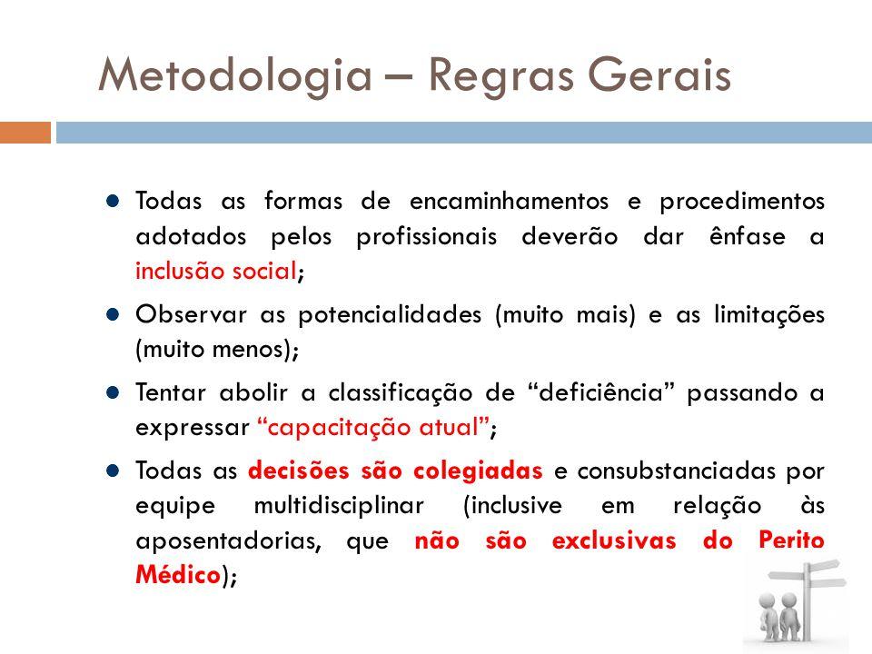 Metodologia – Regras Gerais Todas as formas de encaminhamentos e procedimentos adotados pelos profissionais deverão dar ênfase a inclusão social; Obse