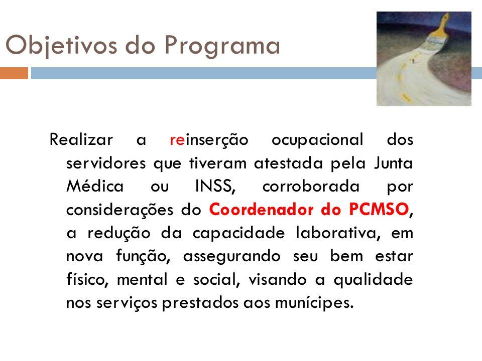 Objetivos do Programa Realizar a reinserção ocupacional dos servidores que tiveram atestada pela Junta Médica ou INSS, corroborada por considerações d